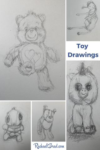 Toy Animal Drawings by Canadian Artist Rachael Grad