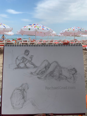 Gesture drawing on the beach by Toronto Artist Rachael Grad