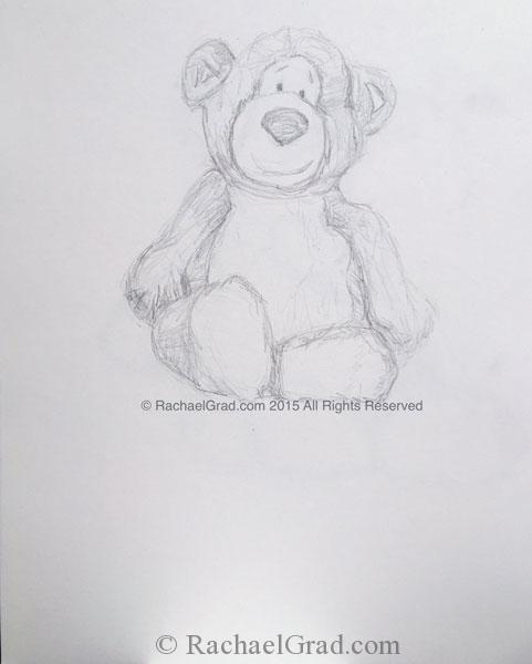 Teddy Bear #2, June 2015, Pencil on Paper Drawing, 9″ x 12″, 2015.
