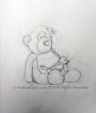 Teddy Bear & Toy Bird 1, Pencil on Paper Drawing, 9″ x 12″, 2015. Rachael Grad Fine Art