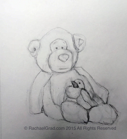 "Reclining Teddy Bear #2, June 2015, Pencil on Paper Drawing, 9"" x 12"", 2015. Rachael Grad Fine Art"