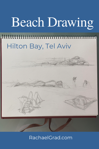 Beach Drawings: Sketchbook Drawing on the Beach in Tel Aviv, Israel