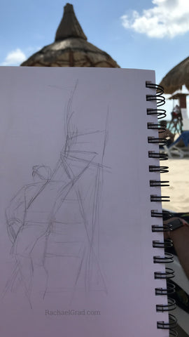 Quick Drawings on the Beach Lifeguard station Rachael grad art