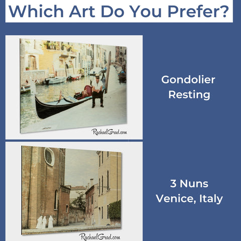 Art Giveaway November 2019, 3 nuns or gondolier resting by Artist Rachael Grad