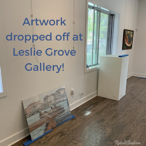 Artwork by Artist Rachael Grad dropped off at Leslie Grove Gallery in Toronto