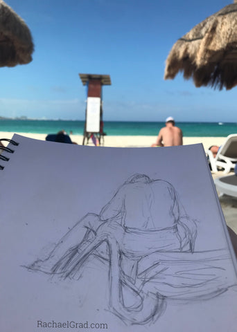 At Club Med Cancún Yucatan Sketches & Pencil Drawings on the Beach in Mexico Man reading pencil