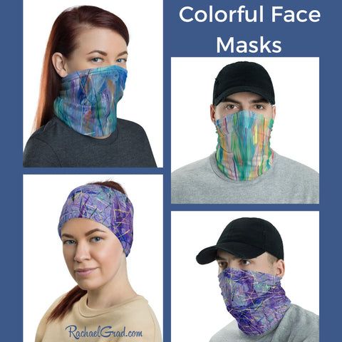 Face Masks with Colorful Art by Canadian Artist Rachael Grad