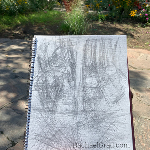 Sketchbook Drawing in Yorkville Park, Toronto by Artist Rachael Grad With park in background