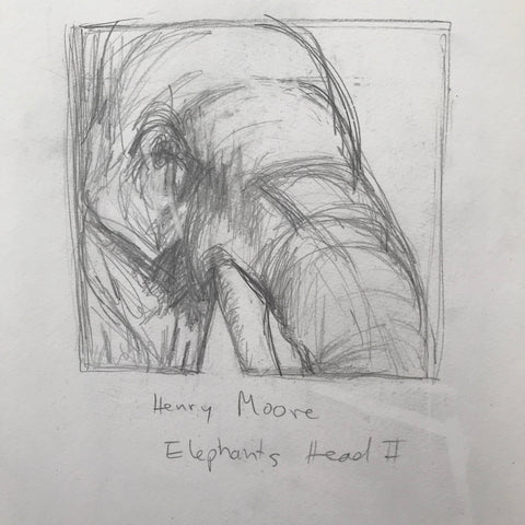 drawing by artist Rachael Grad of Henry Moore Elephant's Head II