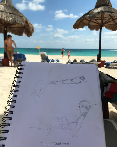 Quick Drawings on the Beach Woman reading a book Rachael Grad Artist art