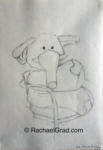 Toy Elephant Drawing March 21, 9″ x 12″, 2015 Rachael Grad artwork