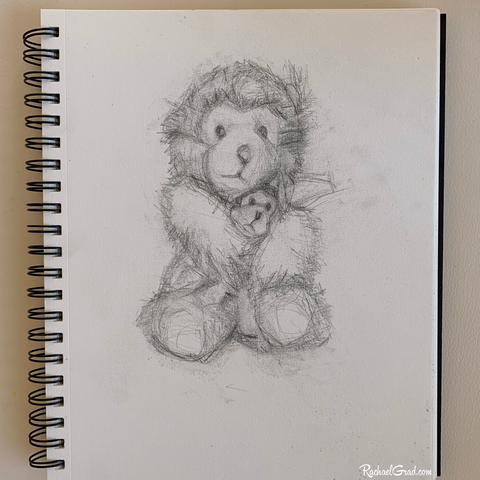 Sketchbook Drawing of Mom and Baby Teddy Bears by Artist Rachael Grad