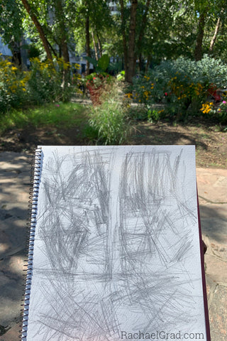 Quick Pencil Drawing in Yorkville Park, Toronto by Artist Rachael Grad
