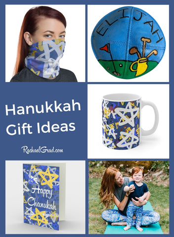Hanukkah Gift Ideas by Canadian Artist Rachael Grad with face mask and other gifts