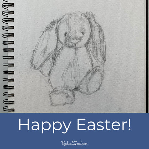 Happy Easter! Bunny Rabbit pencil drawing by Toronto Artist Rachael Grad