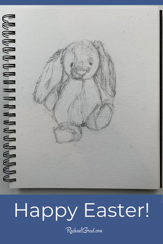 Happy Easter! Bunny Rabbit original pencil drawing by Artist Rachael Grad