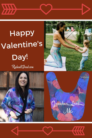 Happy Valentine's Day by Artist Rachael Grad with Mom and Me Leggings Set bib pin