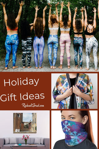 Holiday Gift Ideas by Canadian Artist Rachael Grad with leggings robe mask nuns art