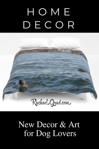 home decor for dog lovers new duvet cover of dogs swimming by artist Rachael Grad