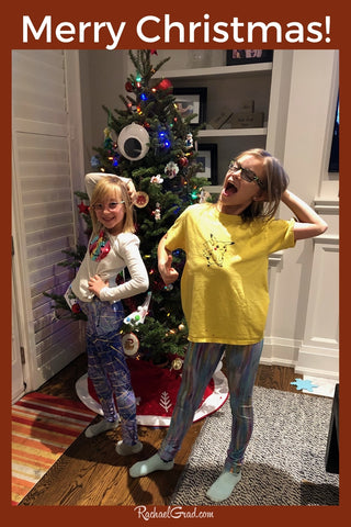 Mery Christmas colorful Art Leggings by Toronto Artist Rachael Grad on Beth's Girls with Christmas Tree