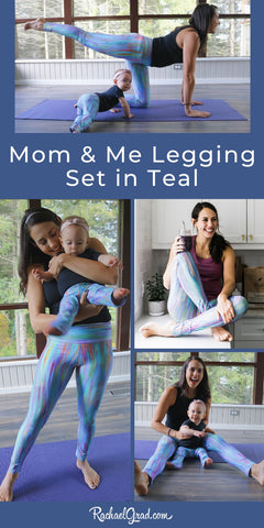 Mom and Me Legging Set in Teal by Artist Rachael Grad