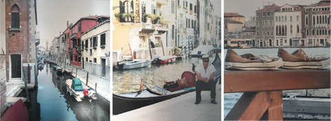 3 Italy Limited Edition Print Ink on Metal 24 x 36 in Rachael Grad Venice artwork gondolier canals old shoes
