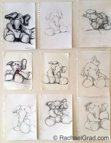 Wall of Toy Elephant Drawings, Pencil, Pen & Charcoal on Paper, 9″ x 12″, 2015 rachael grad original artwork