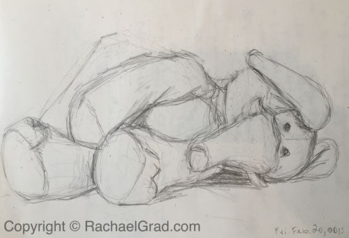 Toy Elephant February 20, Pencil on Paper Drawing, 9″ x 12″, 2015 rachael grad art