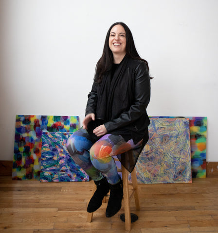 Rachael Grad Artist in Colorful Sami Art Print Leggings and Original Abstract Paintings artwork