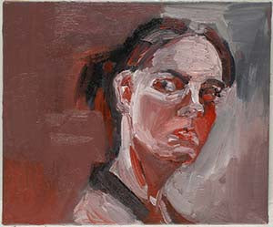self portrait red black white oil on canvas painting rachael grad art