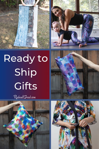 Ready to Ship Gifts from Artist Rachael Grad robe pillows yoga mat scarf