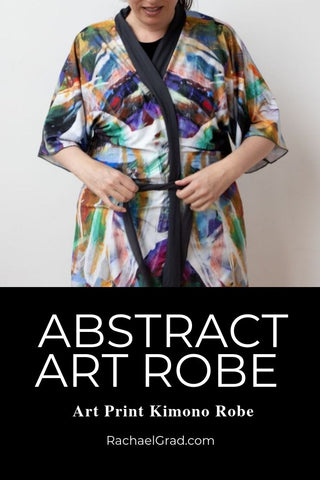 Abstract Art Black Kimono Robe Artist Rachael Grad Bathrobe Artwork Print