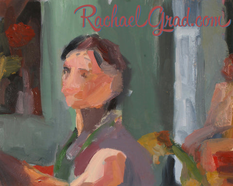 Rachael Grad Artist Self Portrait while oil painting color art artwork colour