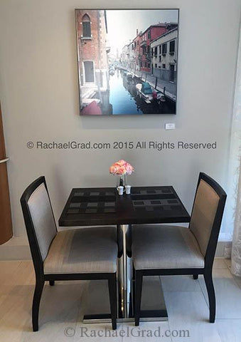 Charity Art Print by Rachael Grad in the dining area of eforea: spa at Hilton, 2015 canal reds venice italy