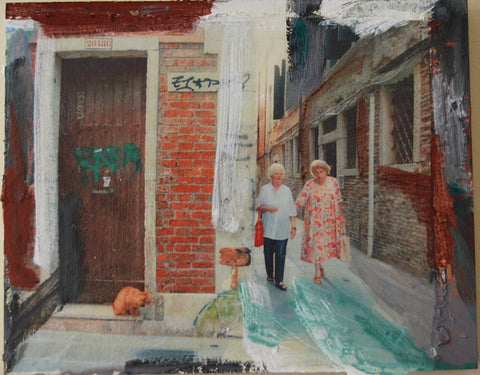 Spying Cat in Calle #1, Dorsoduro, Venice, Italy, Mixed Media on Panel, 2010 Rachael Grad Fine Art