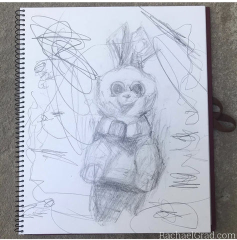 bunny drawing with scribbles colloratiave art with mom and kid from Artist Rachael Grad