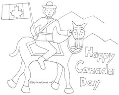 canada day colouring sheet mounti on a horse rcmp canadian flag rachael grad art