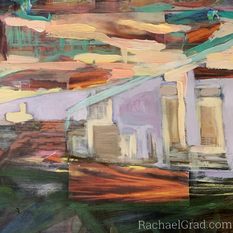 Collage Painting in Process of Tel Aviv by Toronto Artist Rachael Grad