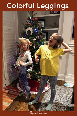 colorful Art Leggings by Toronto Artist Rachael Grad on Beth's Girls with Christmas Tree