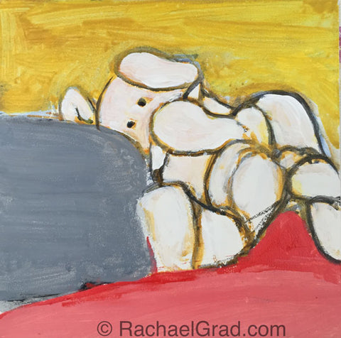 Toy Elephant Painting in progress, 2015 Rachael Grad artwork on panel