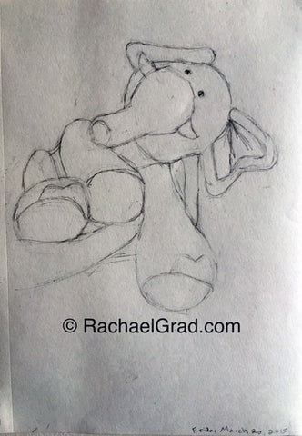 Toy Elephant Drawing March 20, 9″ x 12″, 2015 Rachael Grad artwork