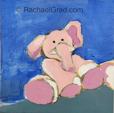 "Pink Elephant painting on 4"" x 4"" panel 2015 Rachael Grad original acrylic artwork"