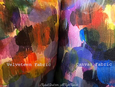 new colorful abstract pillowcases artist rachael grad dot series artwork velveteen canvas made in canada  closeup fabric choices
