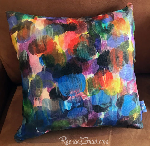 new colorful abstract pillowcases artist rachael grad dot series artwork velveteen canvas made in canada store shop home