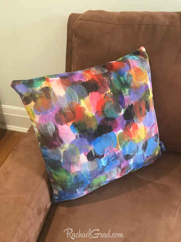 new colorful abstract pillowcases artist rachael grad dot series artwork velveteen canvas made in canada brown couch