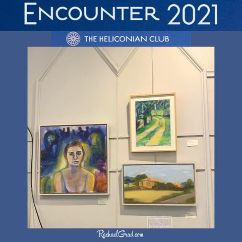 heliconian encounter 2021 wall of 3 paintings by Toronto Canadian artist Rachael Grad