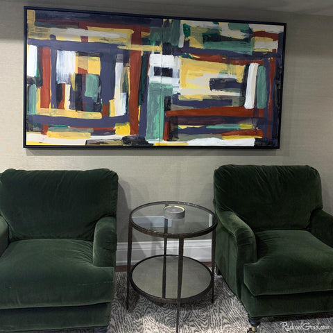 large abstract painting commission framed in living room by Toronto Artist Rachael Grad
