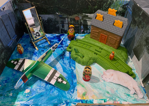art diorama of toys and mixed media by Toronto artist Rachael Grad
