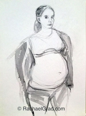 Pregnant Self-Portrait Ink on Paper Pregnant Self Portrait #1, Ink on Paper Drawing, 22″ x 30″, 2012