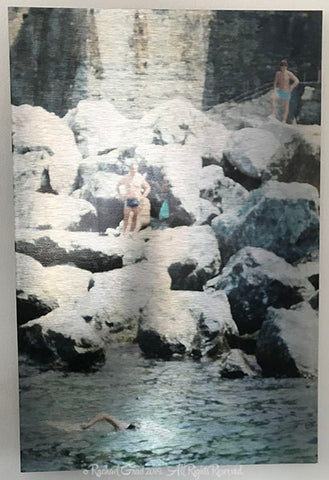 4 swimmers on the rocks cinque terre italy limited edition art print on metal rachael grad artist